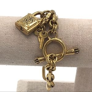 Juicy Couture Jewelry - Juicy Couture Lock & Key Gold Toggle Bracelet